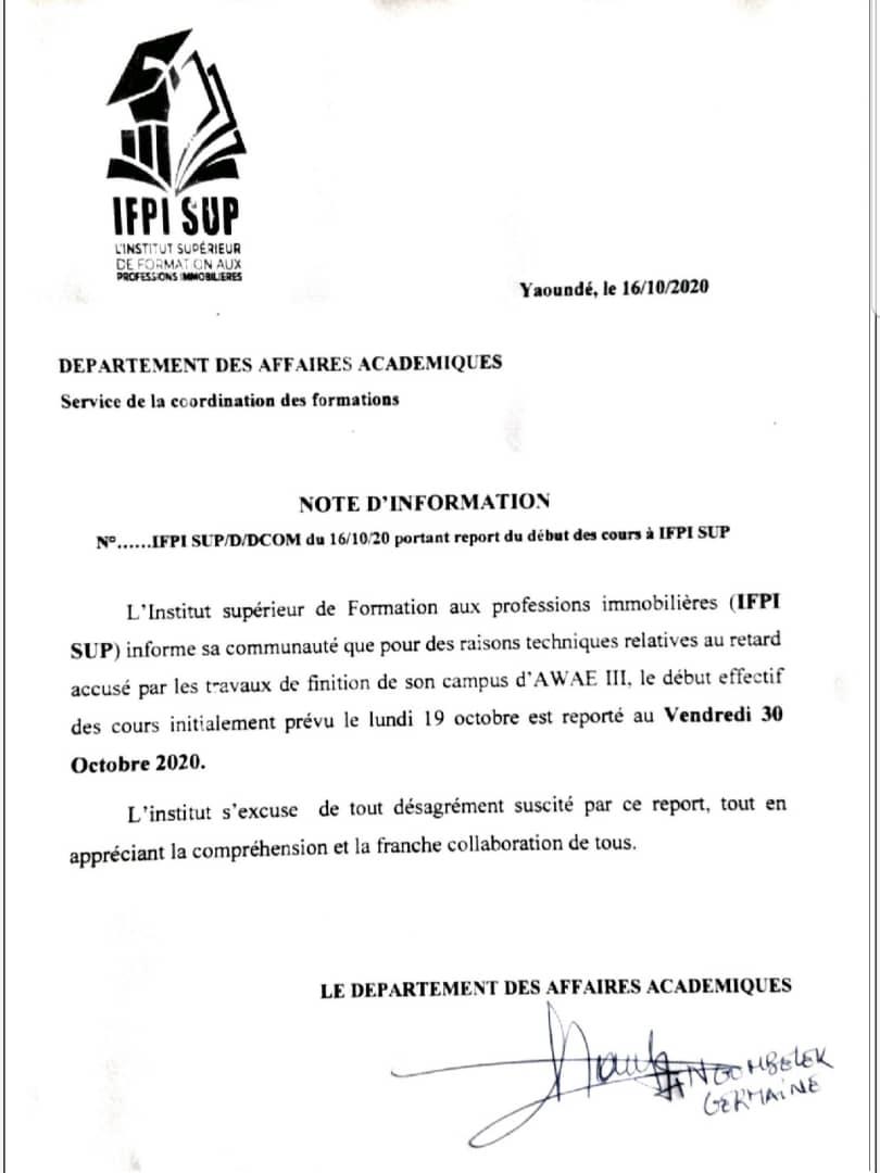 Report du début des cours à l'IFPI SUP