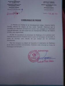 MINHDU : COMMUNIQUE DE PRESSE  : Ouverture temporaire de l'axe routier Yaoundé-Mbalmayo